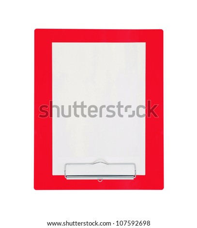 Red clipboard with blank paper isolated on white background