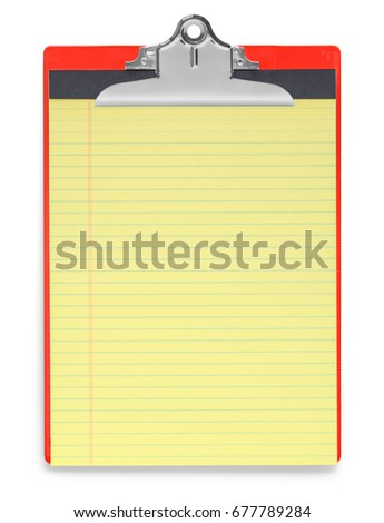 Red Clipboard with Yellow Note Pad Isolated on White Background.