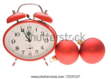 red clock isolated on white background