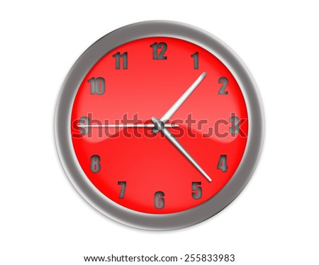 Red clock with arrows on a white background.