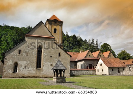 Red cloister (slovak: Cerveny klastor) daytime photo, Slovakia - stock photo