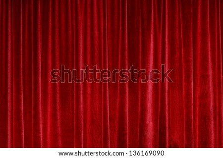 Red Closed Curtain - stock photo
