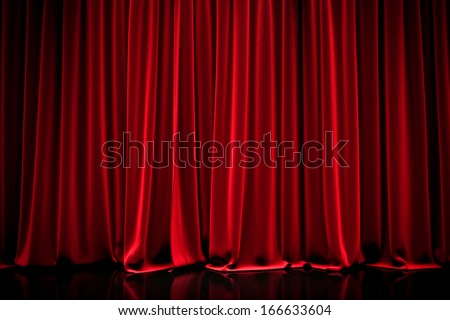 Red closed curtain  in a theater - stock photo