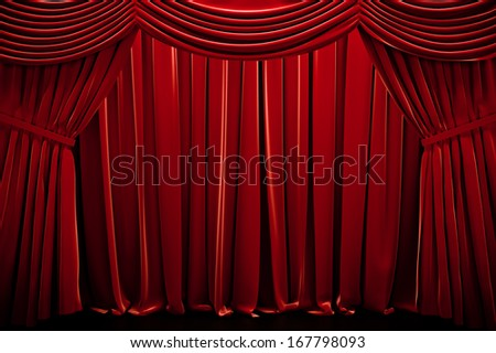 Red closed curtain  in a theater