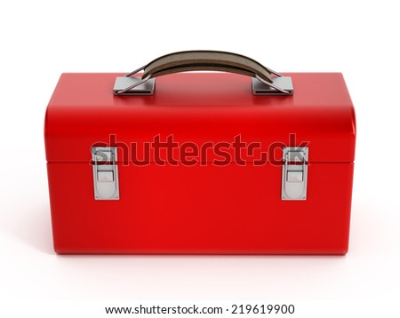 Red closed toolbox isolated on white.