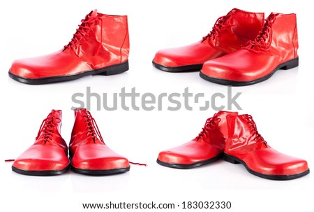 red clown shoes on a white background - stock photo