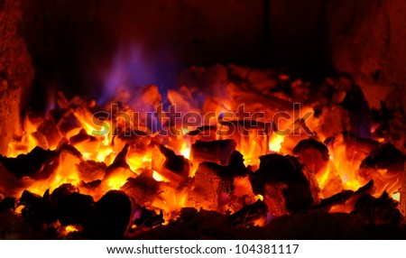 red coals in the fireplace