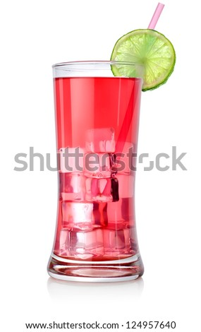 Red cocktail in a glass isolated on a white background - stock photo