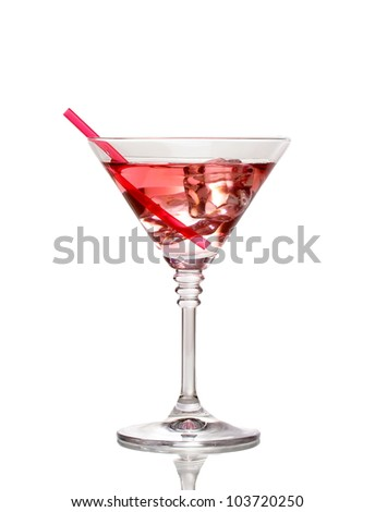 Red cocktail in martini glass isolated on white