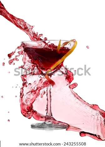 Red cocktail splash - stock photo