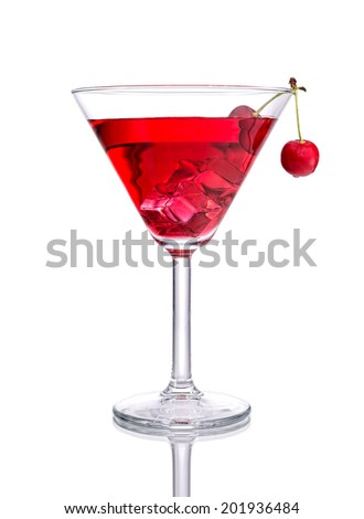 Red Cocktail with Cherry on isolated white - stock photo