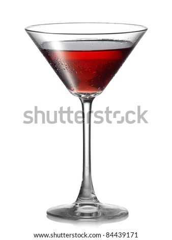 Red cocktail with drops in martini glass