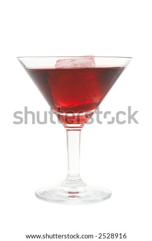 red cocktail with ice, on white