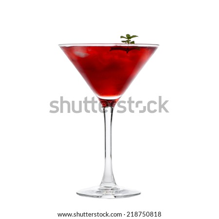 Red cocktail with mint isolated on white - stock photo