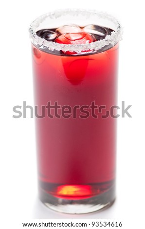 Red cocktail with sugar and ice isolated on white - stock photo