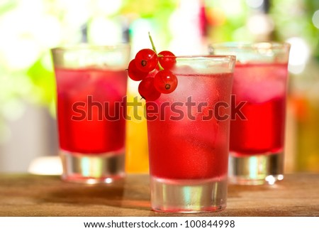 red cocktails with red currant - stock photo