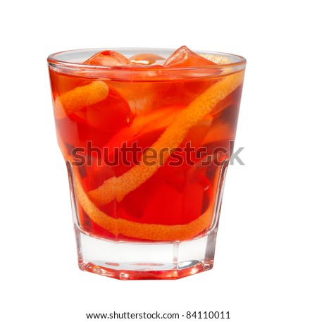 red coctail drink with ice cubs  isolated on white background. - stock photo