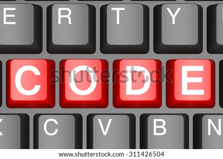 Red code button on modern computer keyboard image with hi-res rendered artwork that could be used for any graphic design. - stock photo