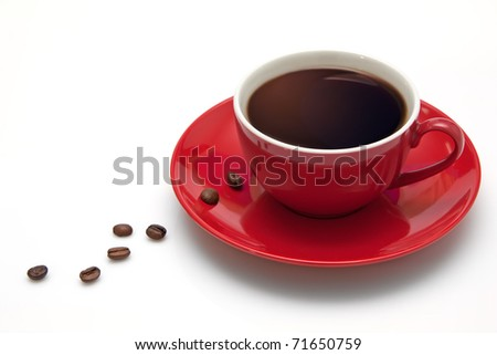 Red coffee cup and grain.