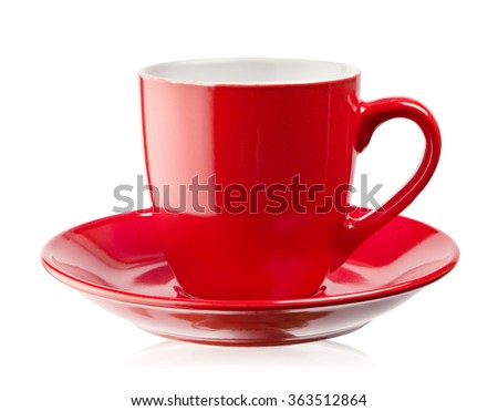 Red coffee cup and saucer isolated on white background - stock photo