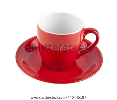 red coffee Cup isolated on white background closeup