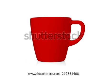 Red coffee cup isolated on white background. include clipping path. - stock photo