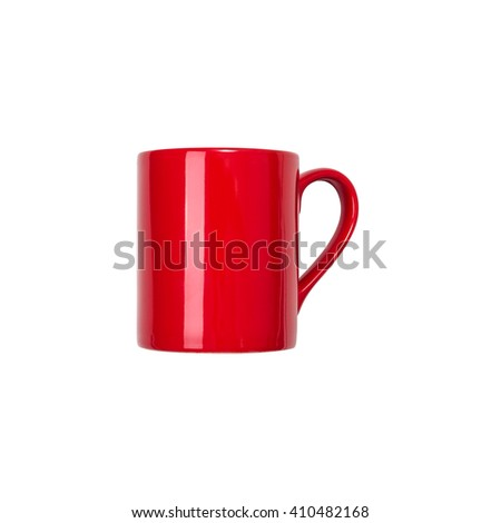 Red coffee cup on white background, top view.
