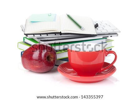 Red coffee cup, ripe apple and office supplies, Isolated on white background