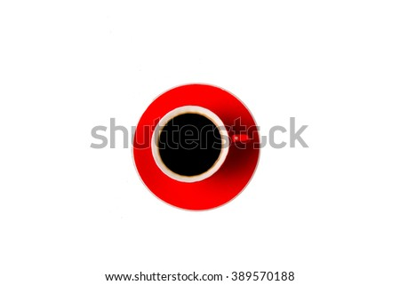 red coffee cup with hot coffee isolated on white background. top view. - stock photo