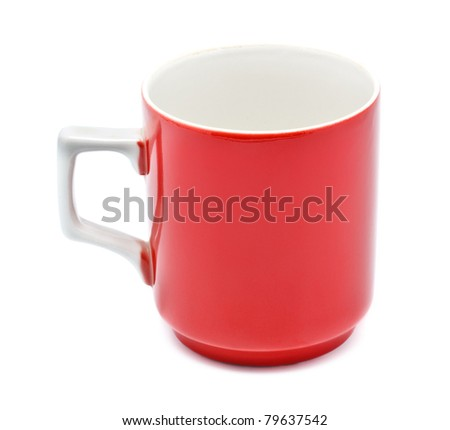 red coffee mug isolated on white background