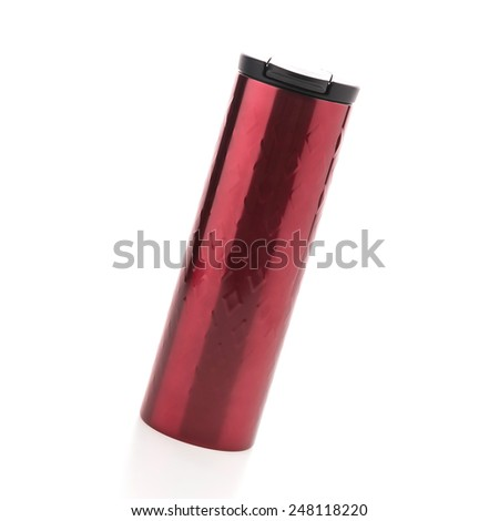 Red coffee tumbler thermos isolated on white background
