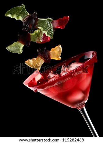 Red cold vampires halloween cocktail - stock photo