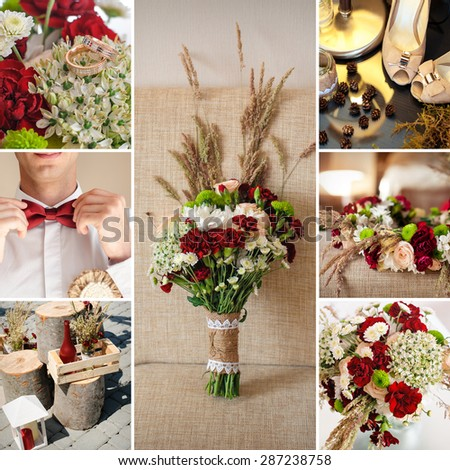 red collage beautiful wedding bouquet of wildflowers. - stock photo