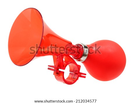 Red color bicycle air horn isolated on white.