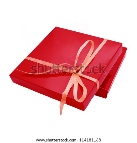 red color box for chocolate candy, tied beige ribbon. Sweet gift or surprise for your favorite. Ready for your logo, text or symbol. Isolated on white background - stock photo