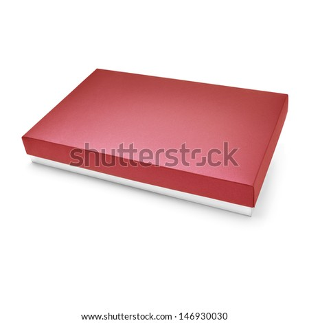 Red color cardboard box on white background - stock photo