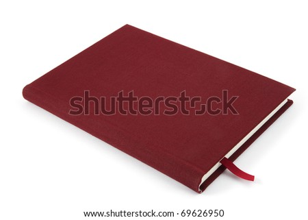 Red color cover notebook isolated on white background