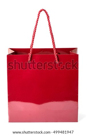 Red color glossy paper shopping bags isolated on a white background.