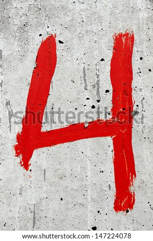 Red color hand painted number 4. - stock photo