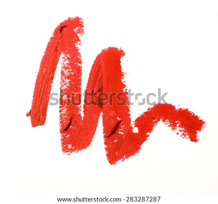 Red color lipstick stroke on background