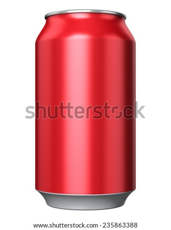 Red color metal aluminum tin drink can isolated on white background - stock photo
