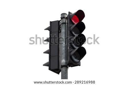 Red color on the traffic light isolate on white background - stock photo