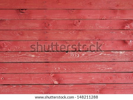 Red colored wood planks as an texture - stock photo
