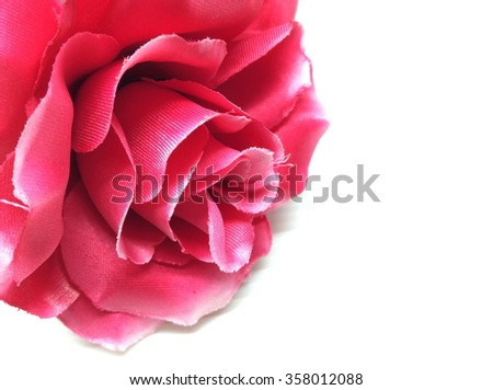 Red colorful textile rose closeup