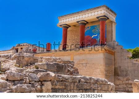 Red column gallery of  legendary Knossos palace, Crete, Greece - stock photo