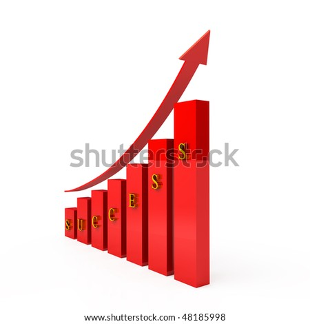red columns with word success and graph arrow