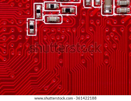 Red computer chip in close-up     - stock photo