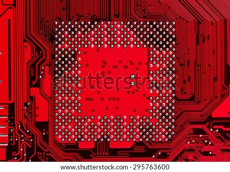 red computer electronic circuit, close up - stock photo