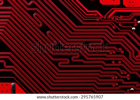 red computer electronic circuit, close up