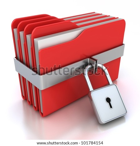 Red computer folders with padlock. 3d image on a white - stock photo
